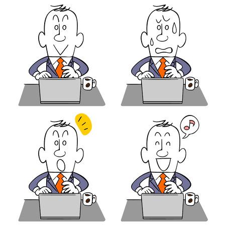 ビジネスマンや表情の PC 4 種類  イラスト・ベクター素材