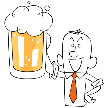 satirical: Businessman listed beer Illustration
