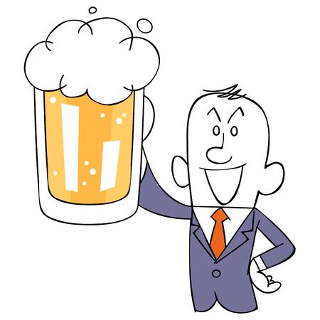 Businessman listed beer Ilustração