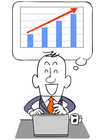 Graph to rise with the businessman and laptop