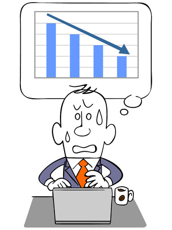 Graph and falling businessman and laptop Stock Illustratie