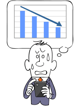 satirical: Graph and falling businessman and smartphone