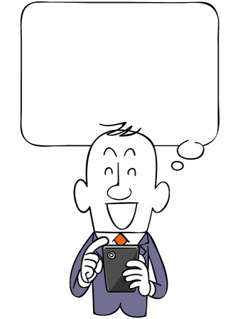 The balloon and smiling businessman and smartphone