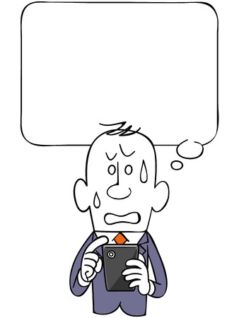 The balloon and negative businessman and smartphone Illustration