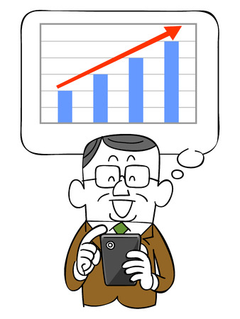 satirical: Graph to rise with the elderly businessman and smartphone
