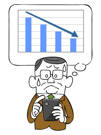 sweats: Graph and falling elderly businessman and smartphone
