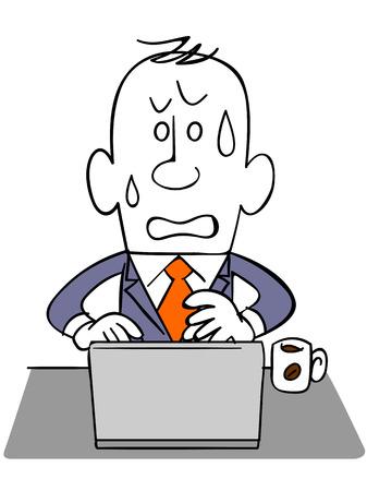 fiambres: Empresario _ impaciencia de usar un ordenador port�til Vectores