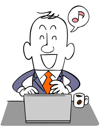 Businessman using a laptop with a smile Stock Illustratie