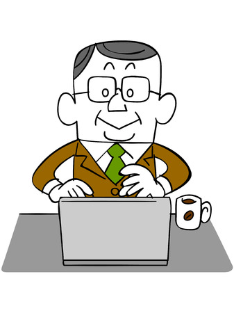 satirical: Elderly businessman using a laptop