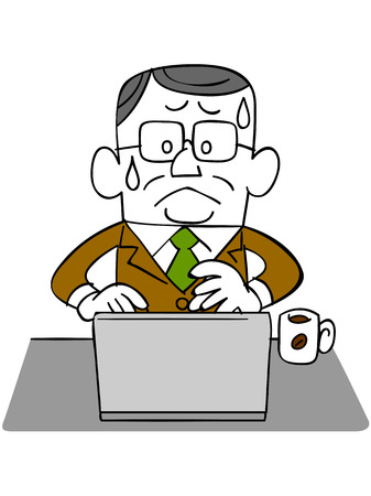 satirical: Elderly businessman _ impatience to use a laptop Illustration