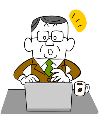 satirical: Elderly and businessman _ noticed that use the laptop
