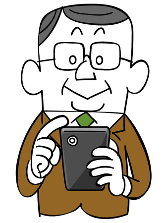 personas mayores: Hombre de negocios mayor para operar el teléfono inteligente Vectores