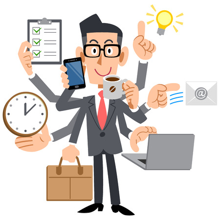 do: Businessmen do a multi-tasking