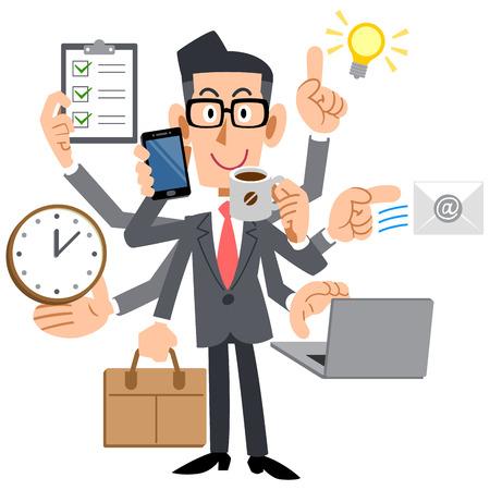wow: Los hombres de negocios hacen una multitarea Vectores