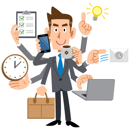 Young businessman do a multi-tasking Stock Illustratie