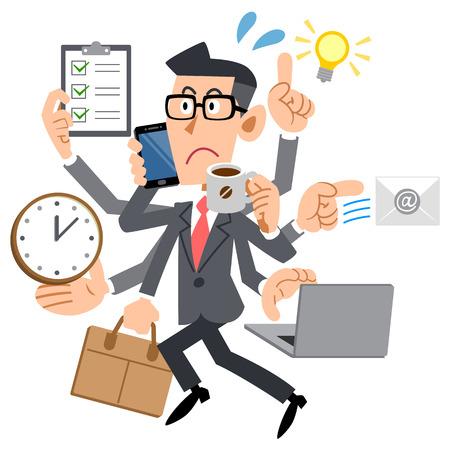 Men busy too suit Stock Illustratie