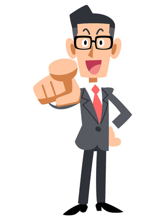 salaried: Glasses of businessman pointing the finger Illustration