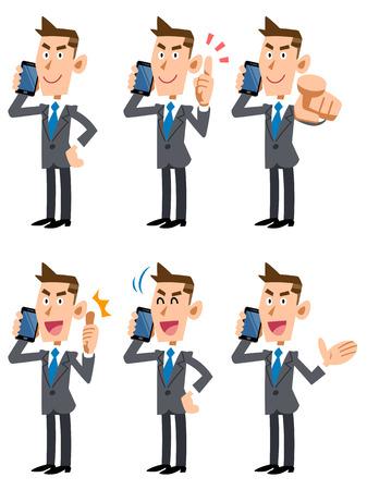 사업가 6 휴대 전화에 얘기를 설정 포즈