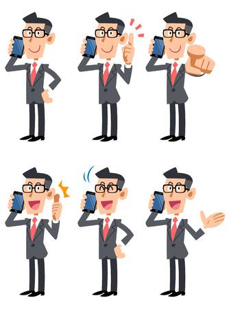 illustrate i: Businessman 6 pose set of glasses speaking on a mobile phone