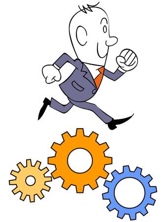 vocational: Businessman and gear Illustration