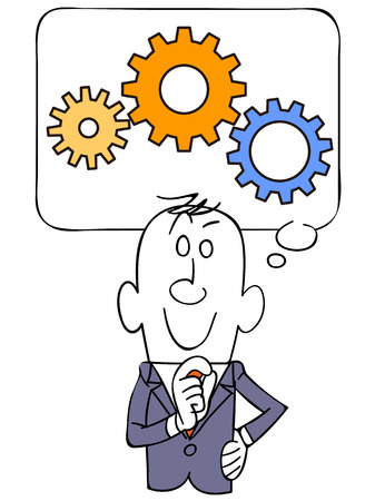 illustrate i: The balloon and businessman and gear