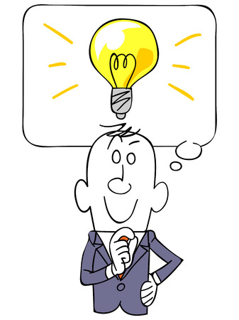 salaried worker: The balloon and businessman and light bulb Illustration
