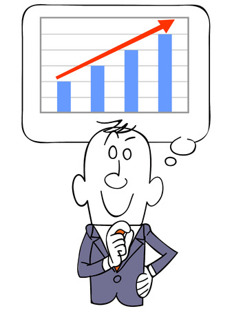 visualize: Graph rising businessmen visualize