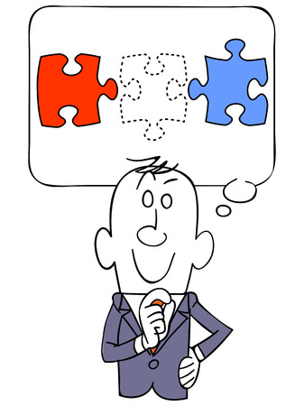 satirical: Businessmen think of puzzle pieces Illustration