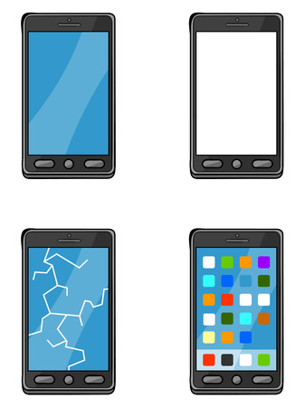 cracking: Image 4 points of mobile phone  smartphone