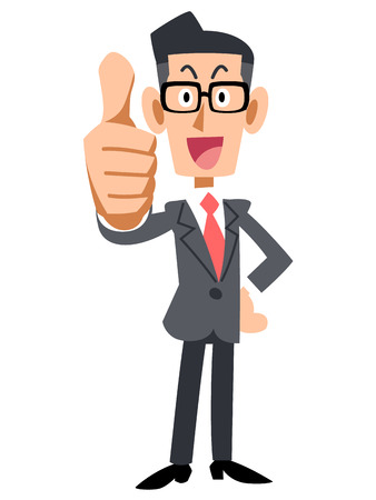 thumbsup: Glasses of businessman that thumbsup