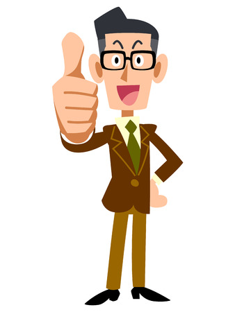 illustrate i: Men of glasses and jacket thumbsup