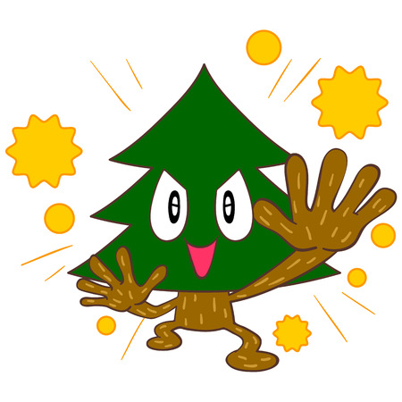 Of cedar trees that spread the pollen characters Vector