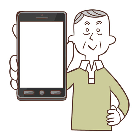 operation for: Older men smile with smartphone