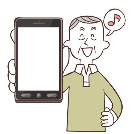 Older men smile with smartphone