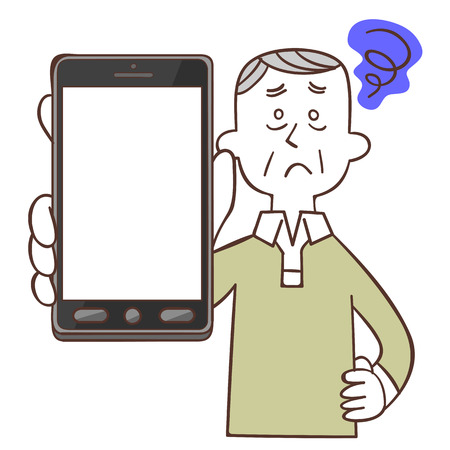 Older men confused look with a smartphone