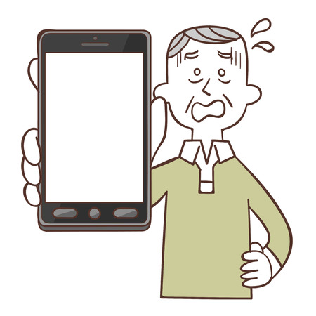 operation for: Older men of panic look with a smartphone