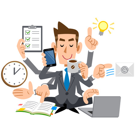 multitask: Businessman young do a multi-task as good Illustration