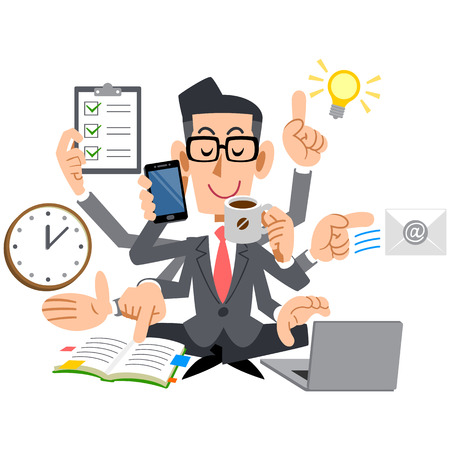 Businessman with glasses that do a multi-task as good Stock Illustratie