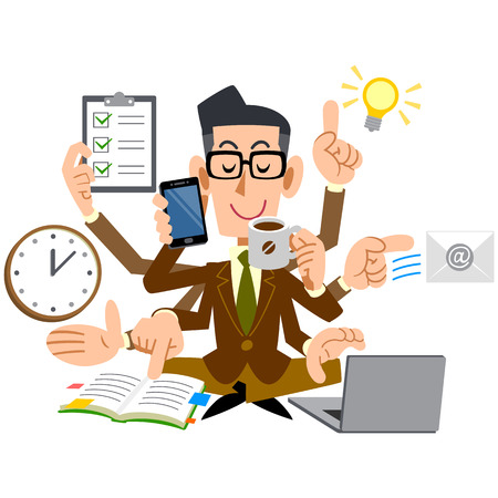 multitask: Men of glasses that do a multi-task with good