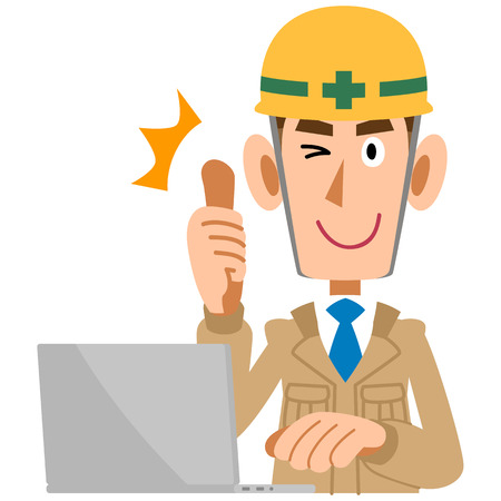 thumbsup: Men of construction site to thumbsup in front of the PC Illustration