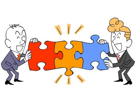 사업가 연결 퍼즐 만족 스톡 콘텐츠 - 37503551