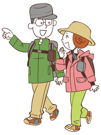 couple hiking: The hike to couple