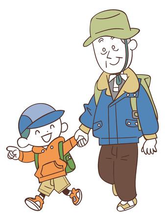 Hiking to grandson and grandpa