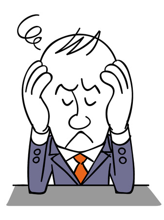 the suffering: businessman suffering Illustration