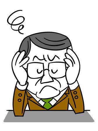 molesto: de mediana edad empresario sufrimiento Vectores