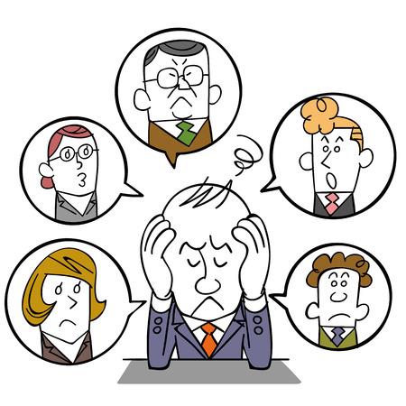molesto: El hombre de negocios que sufren de las relaciones humanas