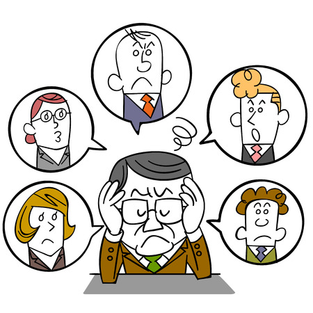 salaried worker: Businessman of managers who suffer from human relations Illustration