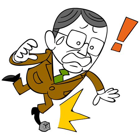 stumble: businessman that the gesture of middle-aged businessman secret stumble