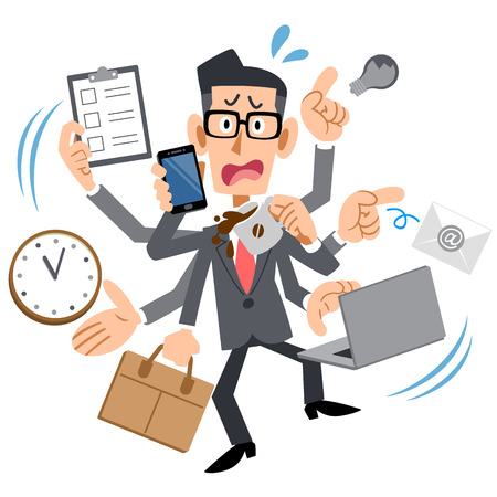 Busy too businessman who wears glasses