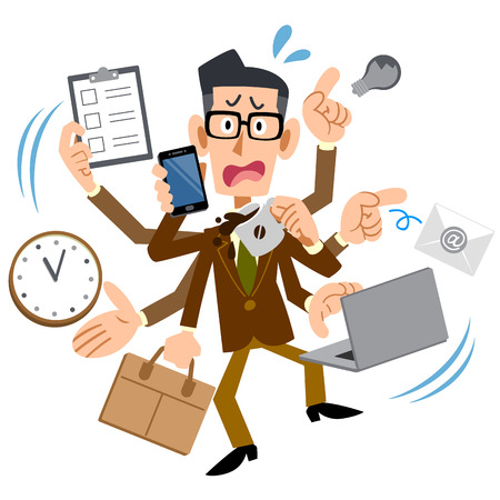Busy too male brown jacket glasses Vector